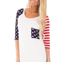 Ivory Stars and Striped 3/4 Sleeve Top