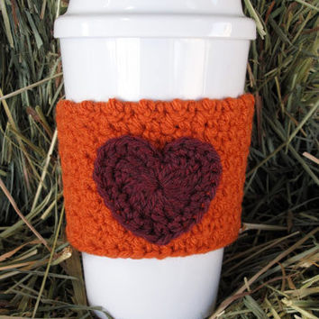 Crochet Heart Coffee Cozy Pumpkin Orange and Plum