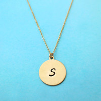 Initial, Disc, Necklace, Brass, Initial, 14K Goldfilled, Jewelry, Necklace, Simple, Minimal, Letter, Necklace