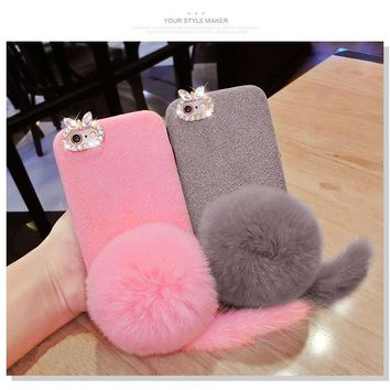 Dower Me Super Cute Korea Fashion Winter Furry Tail With Real Rabbit Fur Ball Soft Phone Case Cover For iPhone X 8 7 6 6S Plus