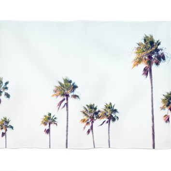 Fort De Soto Palms - Fleece Blanket, Beach Tropical Palm Trees Throw Cover Accent, Coastal Blue and Green Coral Fleece. In 30x40 50x60 60x80