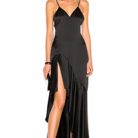 JONATHAN SIMKHAI Silk High Low Gown in Black | FWRD