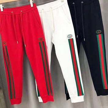 GUCCI Fashion Men Women Casual Double G Embroidery Stripe Sport Pants Trousers Sweatpants