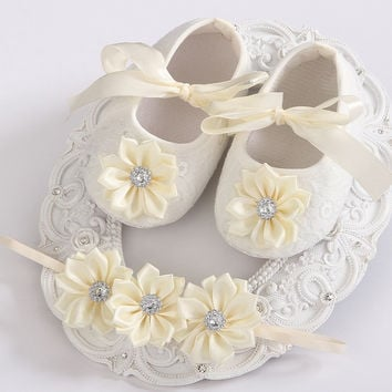 Soft Soled Girls baby Shoes Rhinestone Headband Set 73026b2085