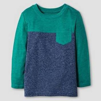 Toddler Boys' Long Sleeve Colorblock T-Shirt Cat & Jack™ - Green & Navy : Target