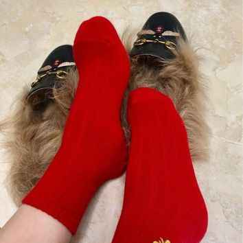 GUCCI Embroidered Bee Red Socks