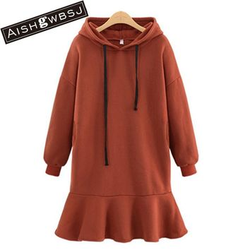 AISHGWBSJ Female Winter Oversized Cotton Coat Causal Vestido 5XL New Hooded Dress Autumn Sweat Dress For Women PL169