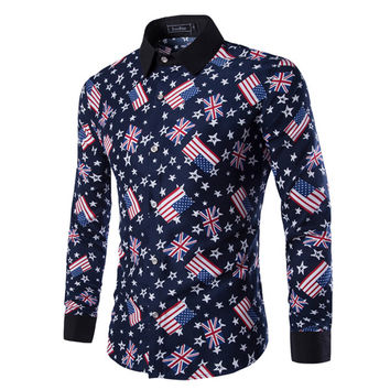 U.S and U.K Flag Print Slim Fit Dress Shirt