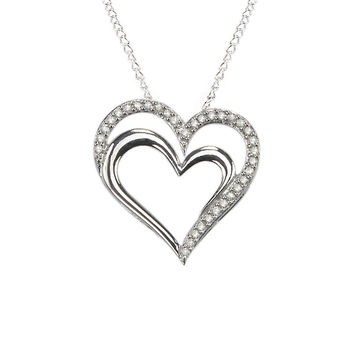 925 Sterling Silver .25ct Diamond Double Heart Pendant Necklace