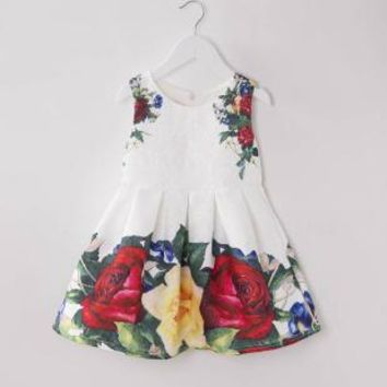 Girls Dress Wedding Dresses Party Costume Short Sleeve Cotton Striped Flowers Children Clothing Dress for Girls