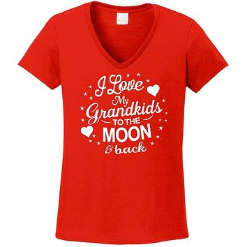 Grandma Shirt; I Love My Grandkids To The Moon And Back Women's V-Neck
