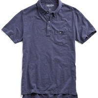 Weathered Button Pocket Polo in Naval Blue