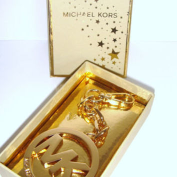 New MICHAEL KORS Gold Chain MK Logo Charm Keychain for Handbag Purse + GIFTBOX