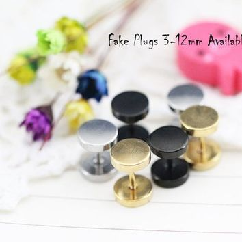 Surgical Stainless Steel Round Fake Plugs Earring Blanks Earring Setting, Sold by 10pcs N color and Nsize