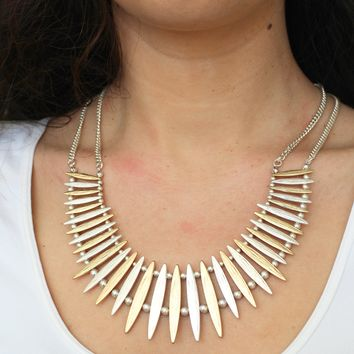 Two Tone Metal Spiked Bar Necklace