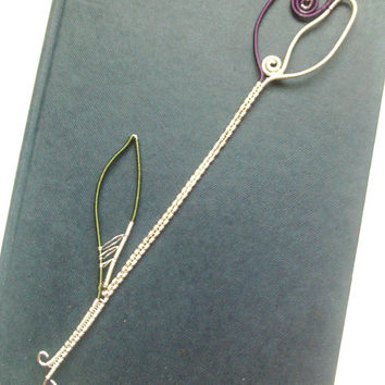 Tulip Flower Bookmark, Metal Bookmark, Unique Bookmark, Wire Wrapped Flower Book Page Marker, Book Accessories, Book Gifts, Literary Gift