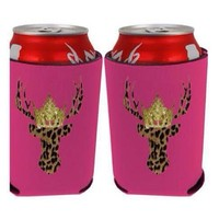 Hot pink deer koozie from PeaceLove&Jewels
