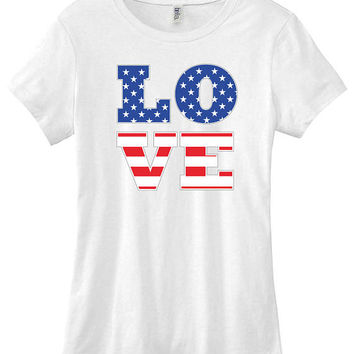 4th of July American flag Love graphic t-shirt funny ladies girls women tee tumblr instagram funny gift girls