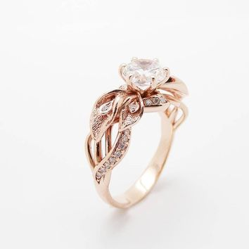 Special Reserved - Calla Lily Moissanite Engagement Ring 14K Rose Gold - last payment