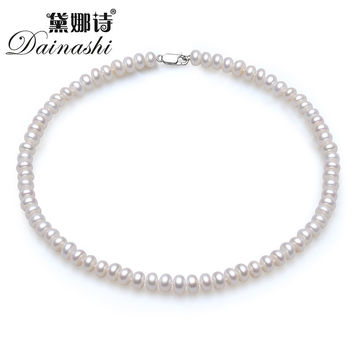 Dainashi Classic 8-9mm semi-round natural pearl necklace for women fashion 18k white gold plated clasp white pink purple 3 color