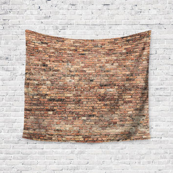 Red Urban Brick Wall  Trendy Boho Wall Art Home Decor Unique Dorm Room Wall Tapestry Artwork
