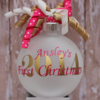 Monogram Baby's First Christmas Ornament Personalized Pink and Gold Holiday Decoration Tree