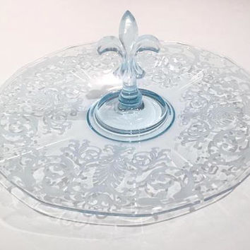 Fostoria Versailles Azure Glass Center Handle Tray, Blue Glass Tidbit Tray, Elegant Glass, Etched Glass Plate