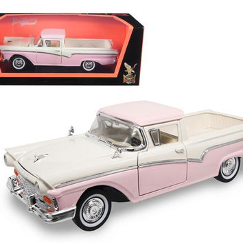 1957 Ford Ranchero Pickup Truck Pink 1-18 Diecast Model by Road Signature