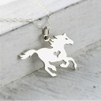 Sterling Silver Horse Jewelry, Running Horse Necklace Equestrian Gifts for Horse Lover Girl Silver Horse Charm, Horse Racing Gifts, Gymkhana