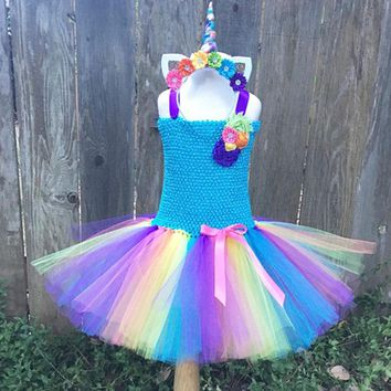 Rainbow Color Princess Girl Unicorn Tutu Dress Children Knee Length Colorful Pony Birthday Party Theme Costume For Kids Photos