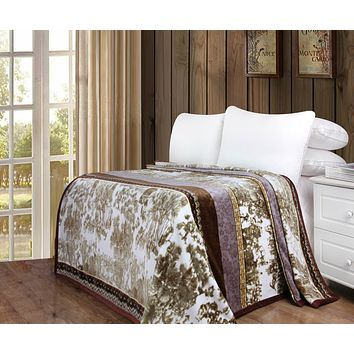 Whispering Twilight Floral Lavender & Brown Vintage Bohemian Reversible Flannel Fleece Throw Blanket (XY9879)