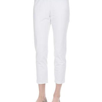 Women's Washable Crepe Slim Ankle Pants, Petite - Eileen Fisher - White
