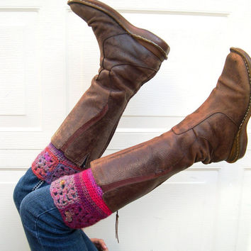 Granny square Multicolor Boot cuffs - Colorful leg warmers  - Winter Fashion 2013 - Boot toppers - red boot cuffs - Girls Fashion