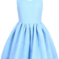 ROMWE Pleated Sleeveless Puff Sky-blue Dress