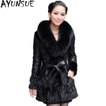 AYUNSUE Women Winter Real Fur Coat Mink Coats Patchwork Sheepskin Genuine Leather Jacket Large Natural Fox Fur Collar Plus Size
