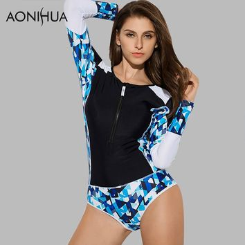 AONIHUA 2018 Geometric Design front zipper Swimsuit for Women Vintage One Piece Swimwear Long sleeve swimming Suit 9017