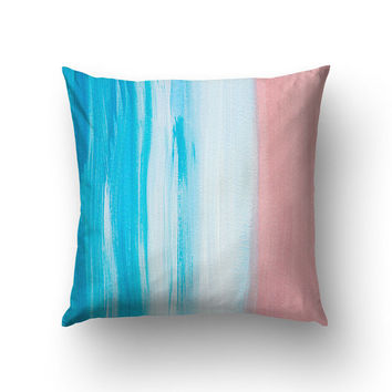 Blue And Pink Pillow Case, Abstract Art, Paint Brushes, Sofa Throws, Living Room Decor