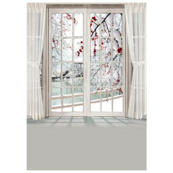 Top Deals 3x5FT Photography Backdrop Blossom Flower Window Curtain Studio Photo Background