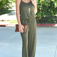 Take Me With You Jumpsuit - Army Green