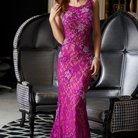 Red Lace Sleeveless Prom Dress 21789