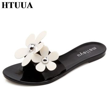 HTUUA New Summer Jelly Shoes Women Slippers Fashion Flowers Flats Sandals Top Quality Solid Flip Flops Boho Beach Slides SX1318