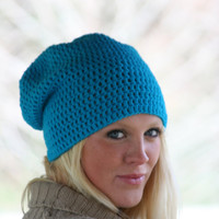Slouchy Beanie Hat Crochet Shimmer Beanie Hat Turquoise Blue