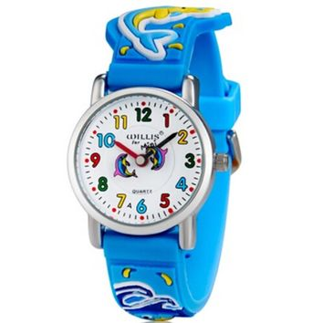 3D Dolphin And Octopus Design Analog Little Boys Girls Children Wrist Kids Watches,Waterproof
