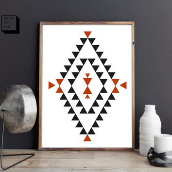 aztec poster, aztec decor, tribal wall decor, navajo art, aztec printable, art print, downloadable. geometric,  8x10, 16x20, 18x24, 24x26 A2