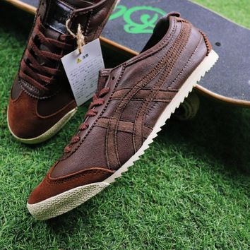 Asics Onitsuka Tiger Sheepskin Shoes Dark Brown Sneaker