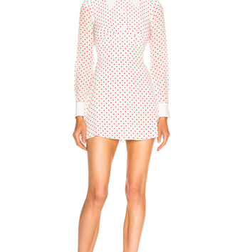 Alessandra Rich for FWRD Polka Dot Mini Dress in White & Red | FWRD