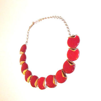 Todays SPECIAL Charel Lucite Thermoset Necklace, red and silver, 1950s, Valentines Day Jewelry