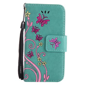 For iPhone 5 5s SE 5C Case Coloured Drawing Pattern Embossed Butterfly Leather Wallet  Flip Stand Cover Mobile Phone Shell