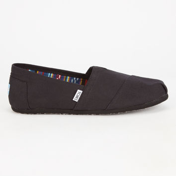 Toms Alpargata Mens Classic Slip-Ons Black/Black  In Sizes
