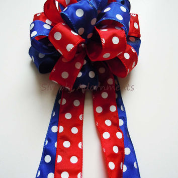 Red Blue Birthday Party Polka Dots Birthday Party Decor Bow Birthday Packaging Gift Bow